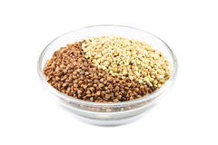 Buckwheat, raw and toasted Royalty Free Stock Image
