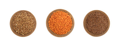 Buckwheat, Red Lentils and Flax Seeds Isolated Royalty Free Stock Photos