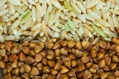Buckwheat and rice background Royalty Free Stock Photo