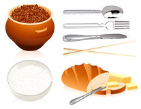 Buckwheat rice bread and cover. Vector illustration, AI file included stock illustration