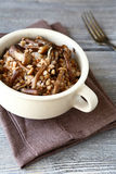 Buckwheat with roasted mushrooms in a bowl Royalty Free Stock Photography