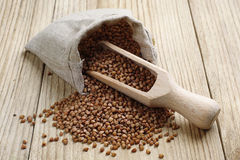 Buckwheat in a sack Royalty Free Stock Photo