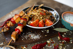 Buckwheat with sauce and chicken kebabs Royalty Free Stock Image