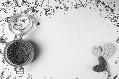 Buckwheat is scattered on the table. Healthy wholesome food. Buc. Buckwheat is scattered on the table black and white poster Royalty Free Stock Photos