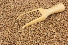 Buckwheat scattered with a wooden scoop. Food ingredients: buckwheat scattered with a wooden scoop stock images