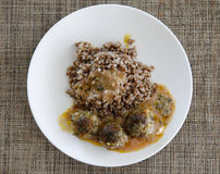 Buckwheat with small meat balls Stock Image
