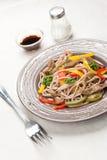 Buckwheat soba noodles stock images