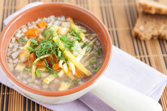 Buckwheat soup  in the beautiful tureen Royalty Free Stock Photos