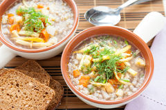 Buckwheat soup with celery and parsnips Stock Photos