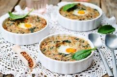 Buckwheat spinach cheese egg casserole Stock Photo