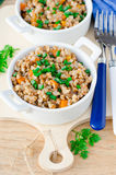 Buckwheat stewed with vegetables Stock Photo