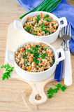 Buckwheat stewed with vegetables Stock Photos