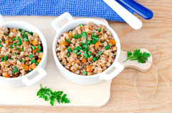 Buckwheat stewed with vegetables Royalty Free Stock Photo