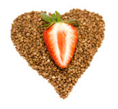 Buckwheat and strawberries Royalty Free Stock Images