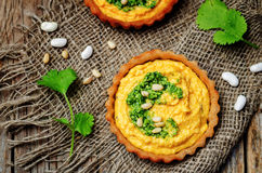 Buckwheat tartlets with with white beans carrot hummus and cilan Stock Image