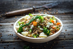 Buckwheat with  vegetables and feta cheese Stock Image