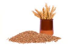 Buckwheat and wheat Stock Photo