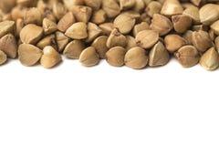Buckwheat white background macro frame.  Stock Photo