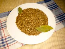 Buckwheat in a white plate on a light background Stock Photography