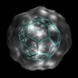 Buckyball. Molecular structure of the Buckminsterfullerene molecule, rendered on a black background stock illustration