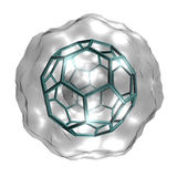 Buckyball. Molecular structure of the Buckminsterfullerene molecule, rendered on a white background stock illustration