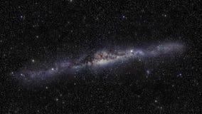 Bucle infinito del viaje espacial con una galaxia estrellada de la vía láctea metrajes