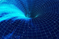 Buco del verme cosmico, concetto di viaggio nello spazio, tunnel a forma di imbuto che può collegare un universo con un altro rap illustrazione di stock