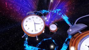 Buco del verme di viaggio di tempo con il ciclo infinito degli orologi illustrazione di stock