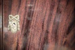 Buco della serratura d'annata con la chiave sul gabinetto di legno d'annata Immagini Stock