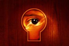 Buco della serratura dell'occhio di potere Fotografia Stock