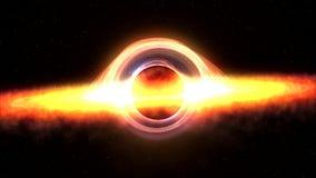 Buco nero che attira la materia dello spazio rappresentazione 4k video 3d illustrazione vettoriale