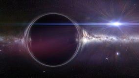 Buco nero con effetto della lente gravitazionale e la galassia della Via Lattea Fotografie Stock Libere da Diritti