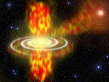 Buco nero in galassia a spirale e stella rossa di morte Fotografia Stock