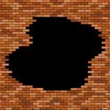 Buco nero in muro di mattoni rosso illustrazione di stock