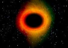 Buco nero sopra il giacimento di stella nello spazio cosmico Fondo astratto dell'universo e di una congestione del gas Spazio del illustrazione vettoriale