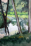 Bucolic brook. 70x100 cm. Oil on canvas. Author: Andreas Guskos, 1998 Royalty Free Stock Photos