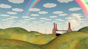Bucolic Landscape with Factory. And Rainbow Royalty Free Stock Photo