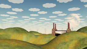 Bucolic Landscape and Factory Stock Images