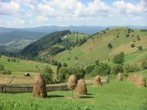 Bucolic landscape of mountains and country of the Bucovina in Romania. Travel destination. Field of grass. Green landscape. Blue sky with white clouds. Sunny royalty free stock photo