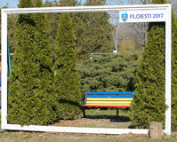 Bucov,普洛耶什蒂,罗马尼亚- 2017年3月04日:普洛耶什蒂2017年在纪念公园Constantin Stere的照片框架 免版税图库摄影