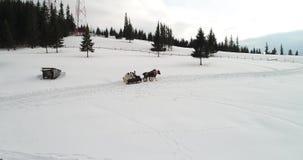 Bucovina在瓦特拉多尔内的鸟瞰图英尺长度冬时的,罗马尼亚 影视素材