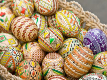 Bucovina traditional easter eggs in a basket Royalty Free Stock Photos