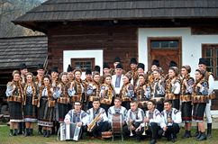 Bucovinian music group in Bucovina in traditional clothes. Bucovinian music group in Bucovina Romania. Clothes in traditional in Bucovina Royalty Free Stock Image
