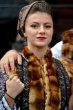 Bucovinian woman in Bucovina in traditional clothes. Bucovinian woman in Bucovina Romania. Clothes in traditional in Bucovina Stock Photography