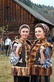 Bucovinian womans in Bucovina in traditional clothes. Bucovinian womans in Bucovina Romania. Clothes in traditional in Bucovina Royalty Free Stock Images