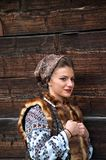 Bucovinian woman in Bucovina in traditional clothes. Bucovinian women in Bucovina Romania. Clothes in traditional in Bucovina Royalty Free Stock Photo