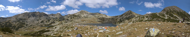 Bucura Lake panoramic view from the Retezat Mountains Royalty Free Stock Photo