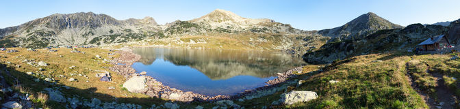 Bucura lake and Retezat mountains, Romania. Morning panoramic mountain view from romanian Carpathian mountains, Bucura lake and Retezat mountains, Romania stock images