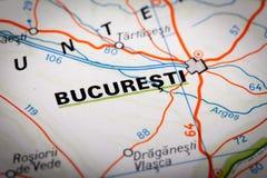 Bucuresti op een wegenkaart Stock Afbeeldingen