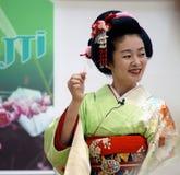 BUCURESTI, ROMÊNIA 18 05 Gueixa 2018 Umekichi em dias japoneses da cultura imagem de stock